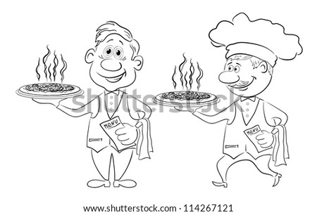 Cartoon waiters deliver a delicious hot pizza to the client, black contour on white background. Vector - stock vector