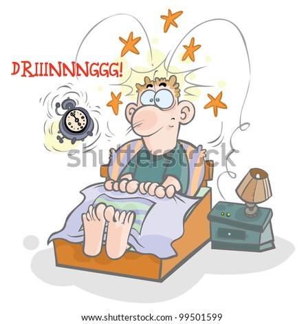 Cartoon waking-up illustration. - stock vector