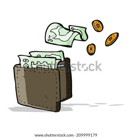 cartoon wallet spilling money - stock vector