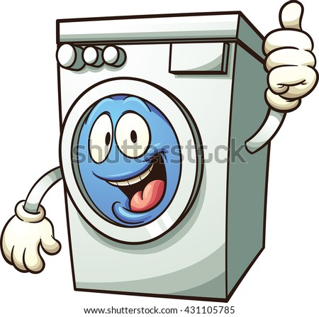 Cartoon washing machine. Vector clip art illustration with simple gradients. All in a single layer.