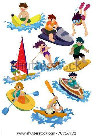 cartoon water sport icon - stock vector
