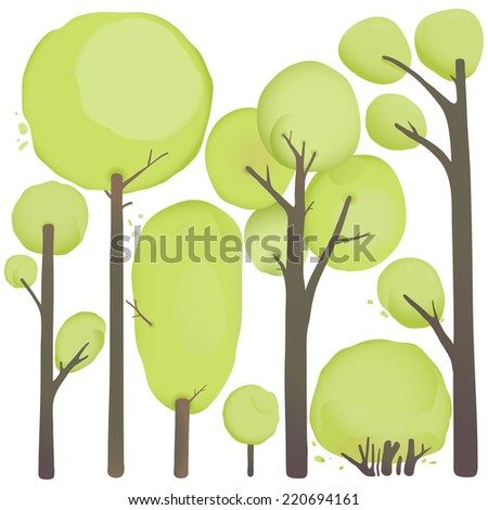 Cartoon Watercolor Trees Set. Forest trees design elements, gradients. Vector EPS8 illustration. - stock vector