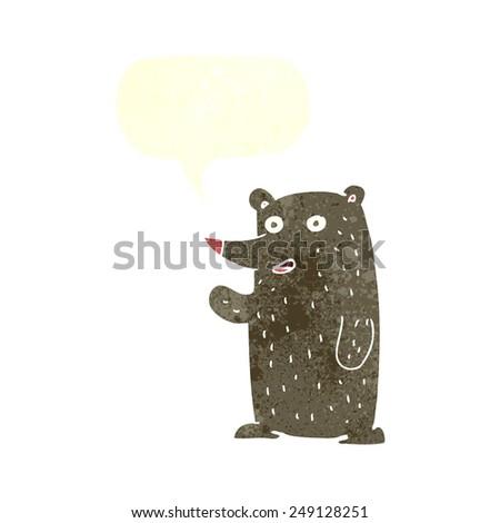 cartoon waving bear with speech bubble - stock vector
