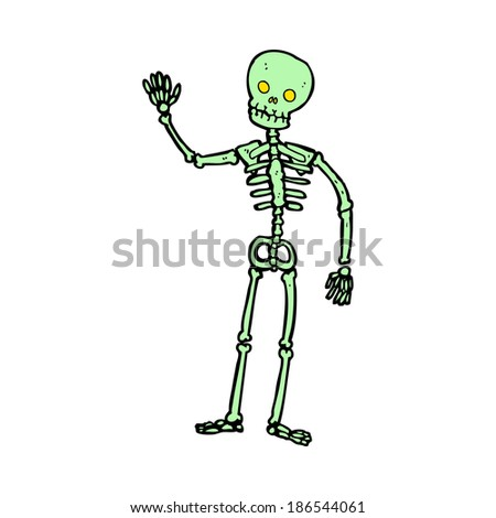 cartoon waving skeleton