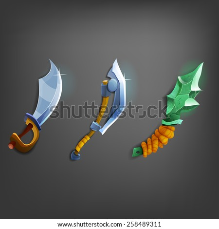 Cartoon weapons for games. Vector illustration. - stock vector