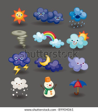cartoon weather icon - stock vector
