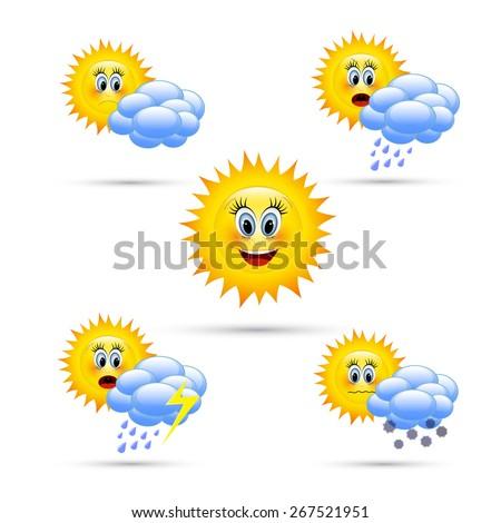 Cartoon weather icons. - stock vector
