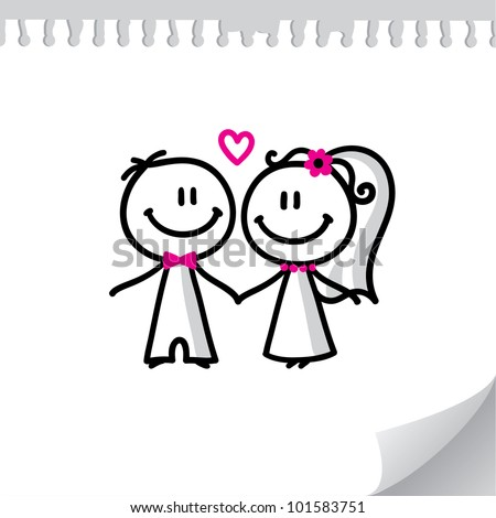 cartoon wedding couple on realistic paper sheet - stock vector