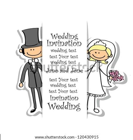 Cartoon wedding picture - stock vector
