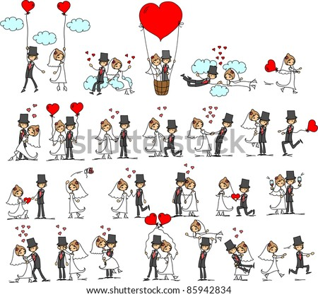 cartoon wedding pictures - stock vector
