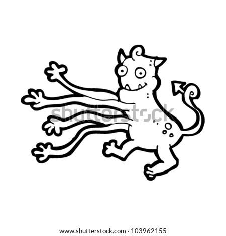 cartoon weird long arms monster - stock vector