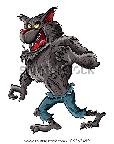 Cartoon werewolf with claws and teeth. Isolated on white - stock vector