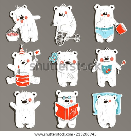 Cartoon White Baby Bears in Action Collection. Nine hand drawn  simple childish bears set. Vector illustration. - stock vector