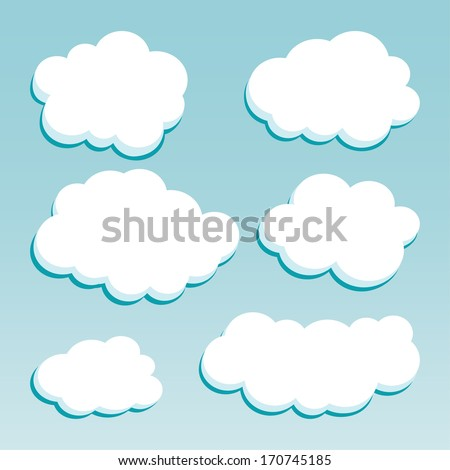 Cartoon white clouds on blue sky for design - stock vector