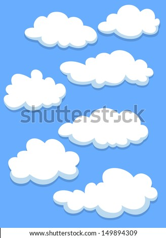 Cartoon white clouds on blue sky for design. Jpeg version also available in gallery - stock vector
