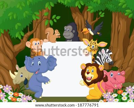 Cartoon wild animal holding blank sign - stock vector