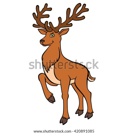 Cartoon wild animals for kids. Cure deer with great horns stands and smiles. - stock vector