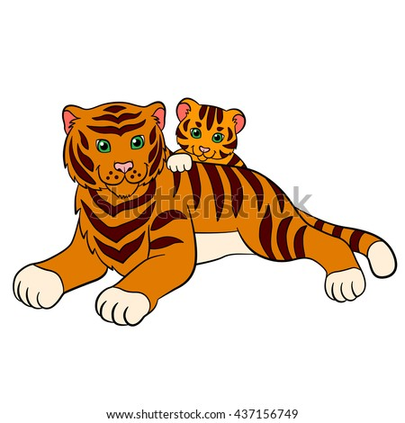 Cartoon wild animals for kids: Tiger. Mother tiger lays with her little cute baby tiger and smiles.