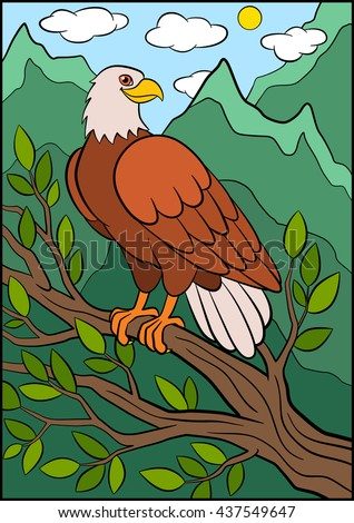 Superieur Cartoon Wild Birds For Kids: Eagle. Cute Eagle Sits On The Tree Branch And