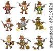 cartoon wild west cowboy icon - stock vector