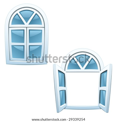 Cartoon windows - closed and open (Vector)