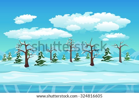 Cartoon winter landscape with ice, snow and cloudy sky. Seamless vector nature background for games. Winter and tree, season xmas illustration - stock vector