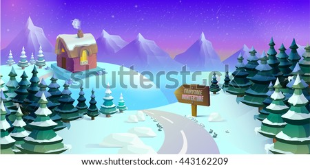 Cartoon winter landscape with ice, snow and cloudy sky. Seamless vector nature background for games.  illustration - stock vector