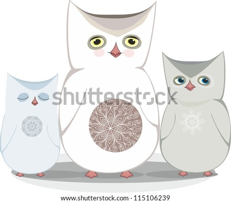 cartoon winter owls - stock vector