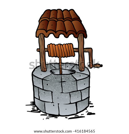 cartoon wishing well - stock vector