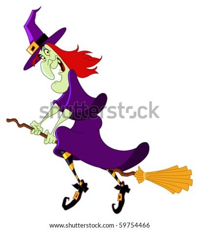 Cartoon witch flying on her broomstick - stock vector
