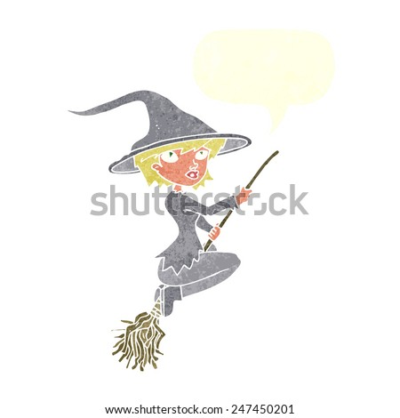 cartoon witch riding broomstick with speech bubble - stock vector