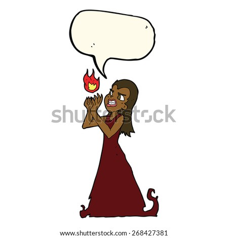 cartoon witch woman casting spell with speech bubble - stock vector