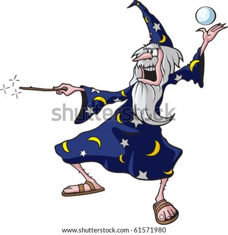 Cartoon Wizard. Vector  file available. - stock vector