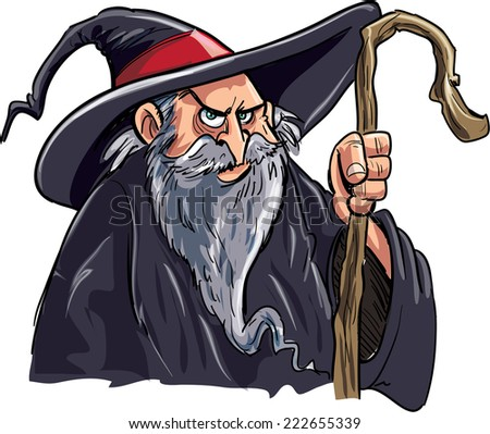 Cartoon wizard with a staff - stock vector