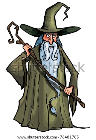 Cartoon Wizard with staff. Isolated on white - stock vector
