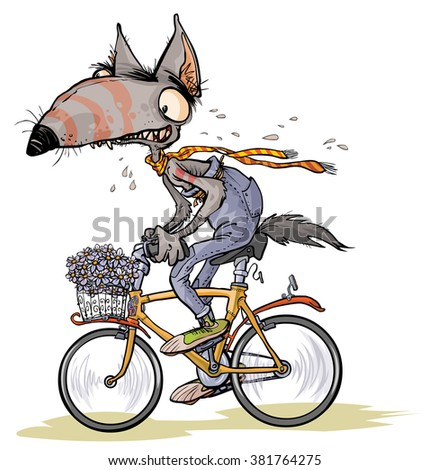 Cartoon Wolf rides a bike.