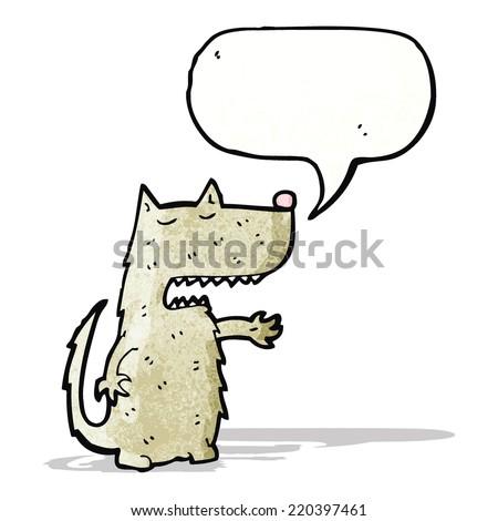 cartoon wolf with speech bubble - stock vector