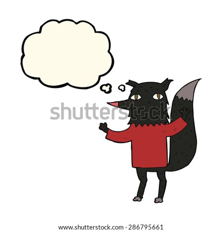 cartoon wolf with thought bubble - stock vector