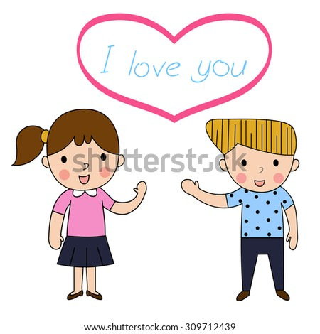 cartoon woman and man in love lovely greeting on White background ,decorated couple wedding lovely vector illustration - stock vector