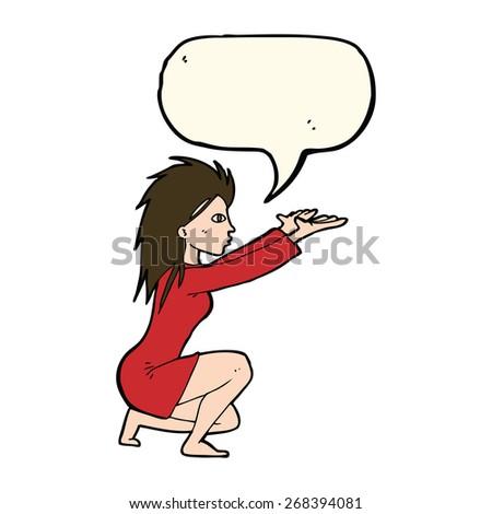 cartoon woman casting spel with speech bubble - stock vector