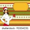 Cartoon woman in suit Snow Maiden with gift. Vector - stock vector