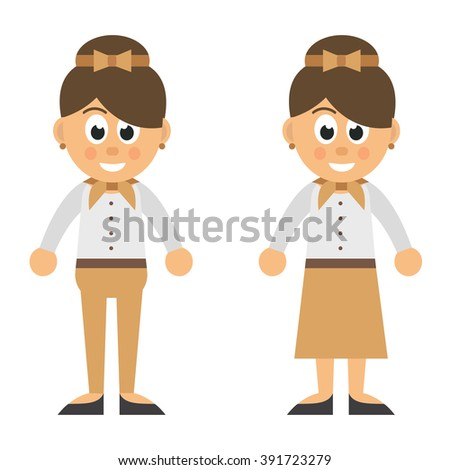 cartoon woman in trousers and skirt