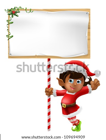 Cartoon woman or girl Christmas elf in Santa Christmas hat holding a sign - stock vector