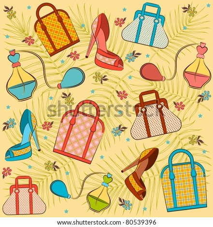 Cartoon woman's bag, perfume and shoes. Vector background