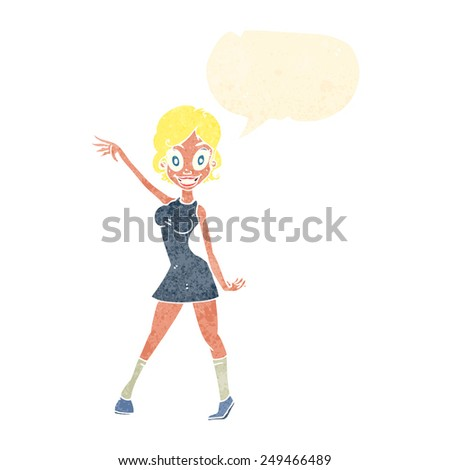cartoon woman waving - stock vector