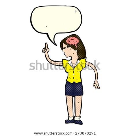 cartoon woman with clever idea with speech bubble - stock vector