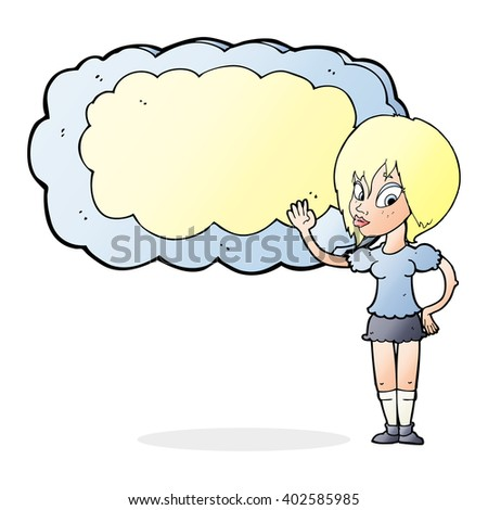 cartoon woman with cloud text space - stock vector
