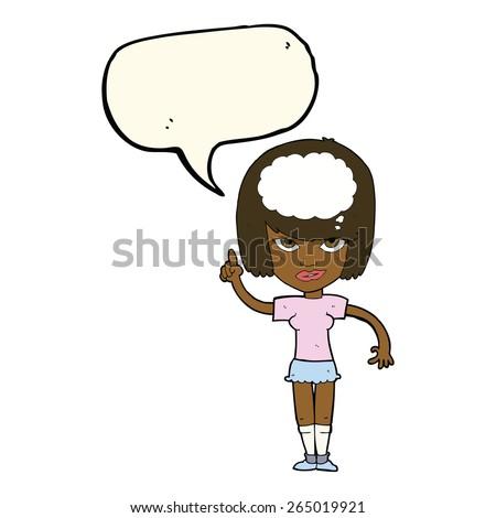 cartoon woman with idea with speech bubble - stock vector