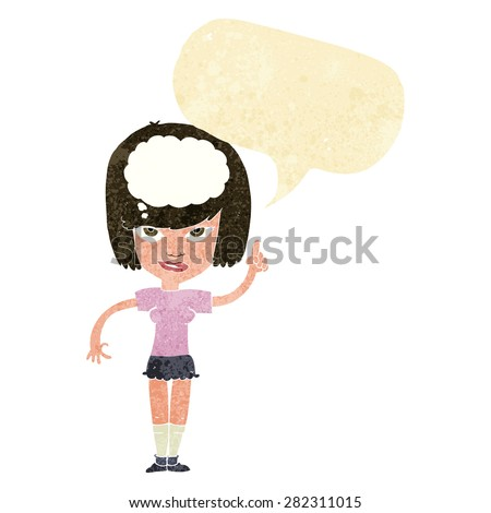 cartoon woman with idea with speech bubble - stock vector