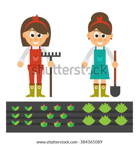 cartoon woman with shovel and rake and garden - stock vector